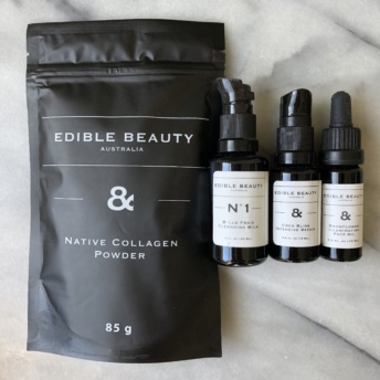 Collagen and face products by Edible Beauty