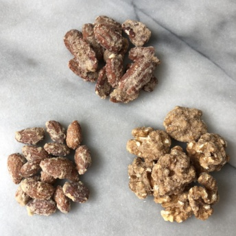 Three types of candied nuts by Black Bow Sweets
