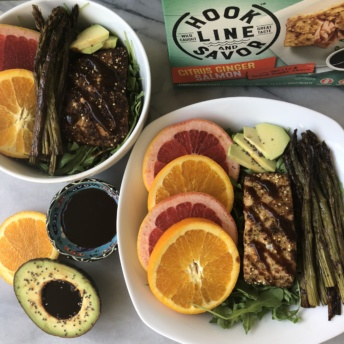 Citrus ginger salmon from Hook Line and Savor plus veggies