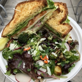 Gluten-free sandwich and salad from Little Mosko's