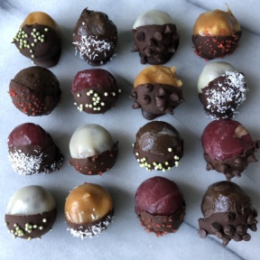 Chocolate Dipped Frozen Bites for the holidays
