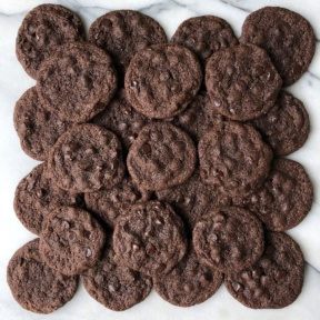 Stacks of Double Chocolate Chip Cookies