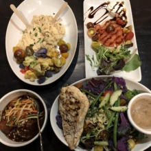 Gluten-free dinner spread from Kitchen West Restaurant