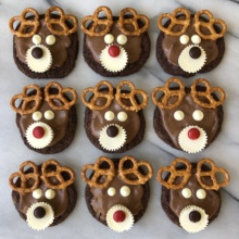 Gluten-free Chocolate Reindeer Cookies using double chocolate chip cookies