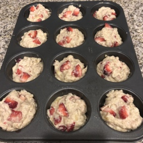 Strawberry Banana Protein Muffins about to go in the oven