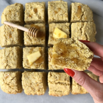 Gluten-free Cornbread with butter and honey