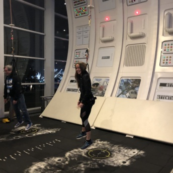 Jackie experiencing zero gravity at Adventure Science Center in Nashville