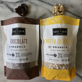Chocolate and sweet & salty kettle granola by Safe + Fair