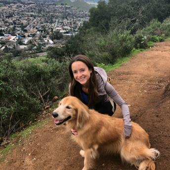 Jackie hiking with Odie in San Luis Obispo