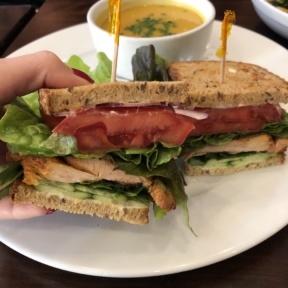 Gluten-free sandwich on GF vegan bread at Novo