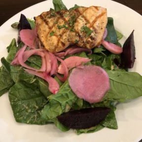Grilled salmon salad from Novo