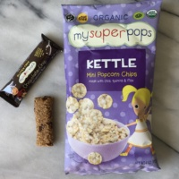 Gluten-free popcorn chips and granola bar by My Super Foods