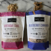 Birthday cake and blueberry granola by Safe + Fair