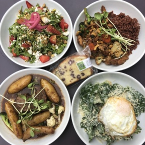 Gluten-free bowls and pound cake from Mint + Craft