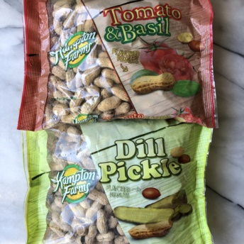 Dill pickle and tomato basil peanuts by Hampton Farms