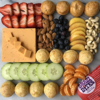 Gluten-free platter with Brazi Bites, veggies, fruit, cheese