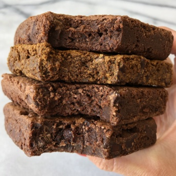 Stack of gluten-free brownies by Jungle Treats