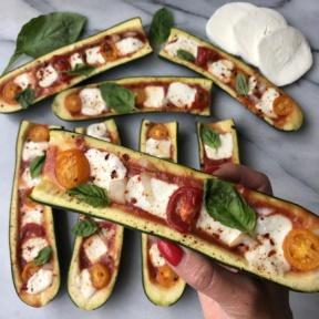 Gluten-free Zucchini Pizza Boats with mozzarella cheese