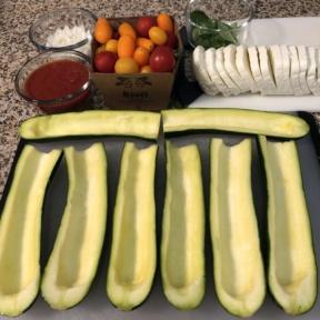 Making Zucchini Pizza Boats