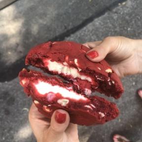 Gluten-free Cream cheese stuffed red velvet cookie from Posh Pop