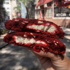 Stack of Cream cheese stuffed red velvet cookie from Posh Pop