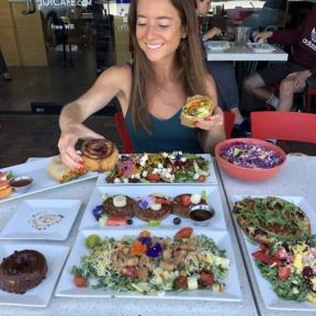 Jackie eating at JOi Cafe in Westlake Village