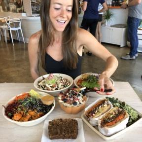 Jackie eating a bowl at Vibe Organic Kitchen