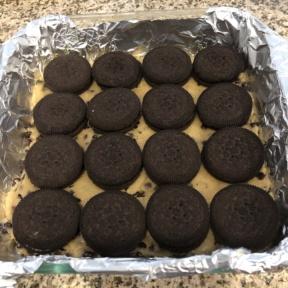 Making Chocolate Creme Cookie Stuffed Brookies