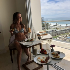 Jackie eating breakfast from Le Blanc Room Service