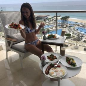 Jackie eating Le Blanc Room Service