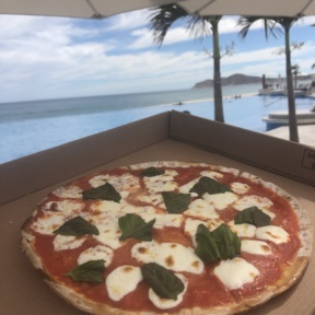 Gluten-free pizza by the pool from Blanc Pizza