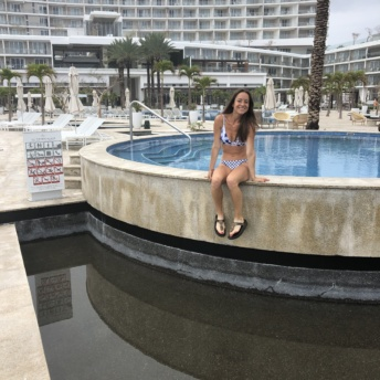 Jackie at Le Blanc pool in Cabo