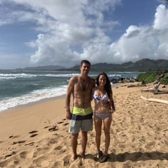 Jackie and Brendan on beach in Kauai