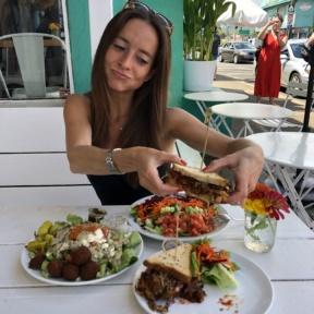 Jackie eating at Java Kai in Kauai