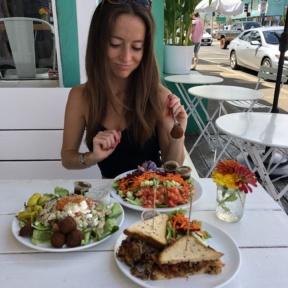 Jackie eating salad at Java Kai