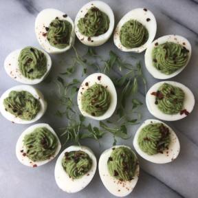 Gluten-free dairy-free Avocado Deviled Eggs