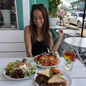 Jackie eating lunch at Java Kai