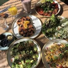Gluten-free vegan brunch spread from Fresh