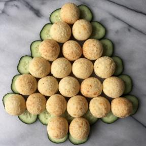 Making a gluten-free Brazilian cheese bread Christmas tree