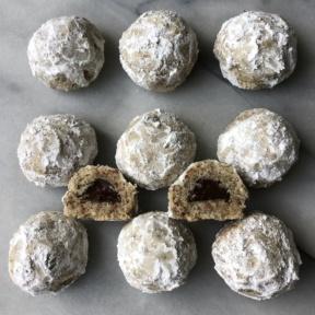 Gluten-free vegan Chocolate Stuffed Snowball Cookies