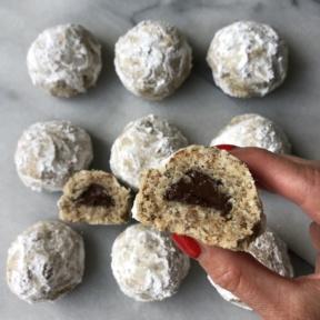 Vegan Chocolate Stuffed Snowball Cookies