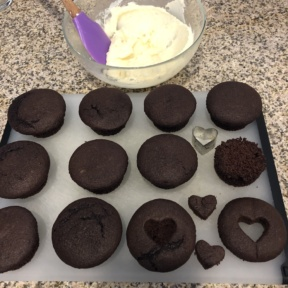 Making Frosted Heart Chocolate Cupcakes