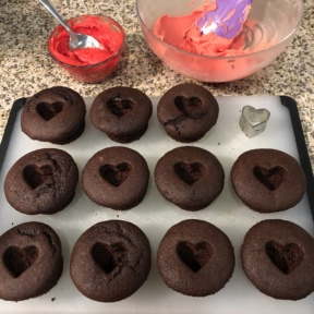 Making gluten-free Frosted Heart Chocolate Cupcakes