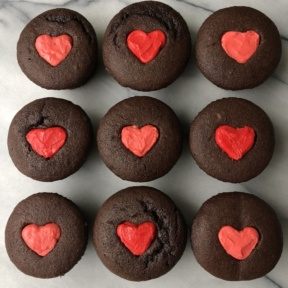 Gluten-free dairy-free Frosted Heart Chocolate Cupcakes for Valentine's Day