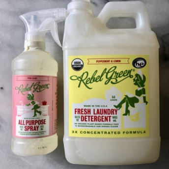 Gluten-free cleaning spray and laundry detergent by Rebel Green
