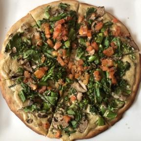 Gluten-free vegan white truffle pizza from Suncafe