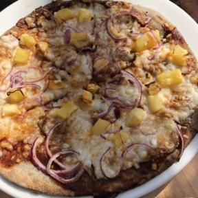 Gluten-free BBQ pineapple pizza from Sage Vegan Bistro
