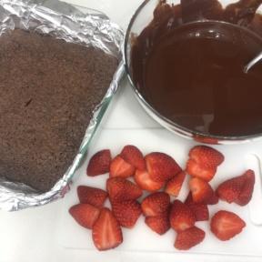 Making Strawberry Stuffed Brownies
