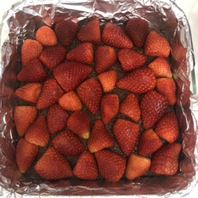 Making gluten-free Strawberry Stuffed Brownies