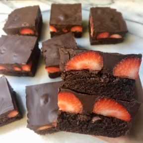 Delicious gluten-free Strawberry Stuffed Brownies